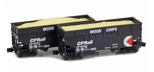 Full Throttle FT-3405-1 CP Rail 33' Offset-Side 2-Bay Woodchip Hoppers | 2-Car Set