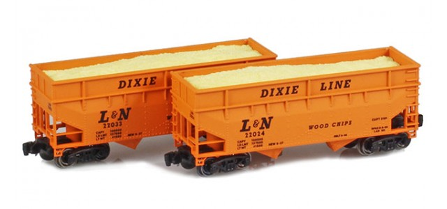 Full Throttle FT-3407 L&N 33' Offest-Side 2-Bay Woodchip Hoppers | 2-Car Set