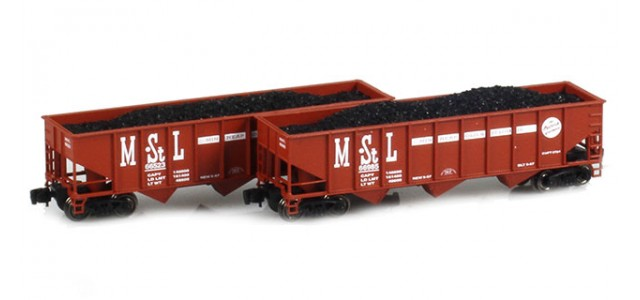 Full Throttle FT-5004 M&StL 70-Ton Rib-Side 3-Bay Hoppers | 2-Car Set