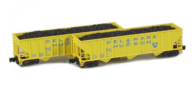 Full Throttle FT-8017-1 Delaware & Hudson 100-Ton Rib-Side 3-Bay Hoppers | 2-Car Set