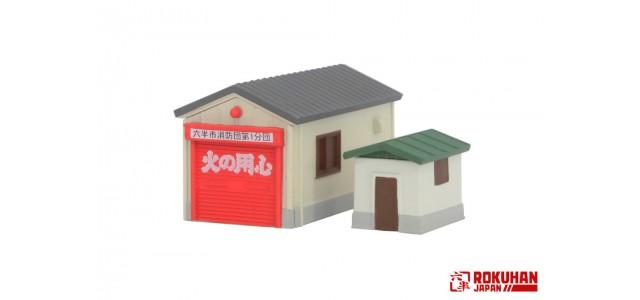 Rokuhan S050-1 Single Car Garage Set | Gray Roof
