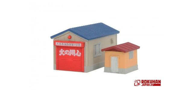 Rokuhan S050-2 Single Car Garage Set | Blue Roof