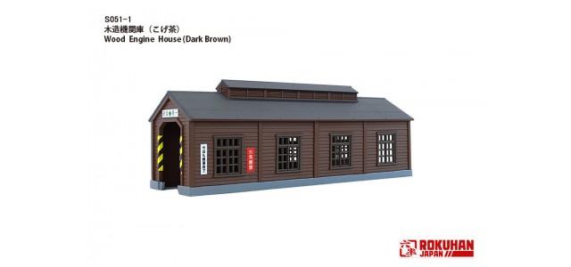 Rokuhan S051-1 Wood Engine House Single Stall | Dark Brown