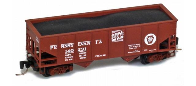 Micro-Trains 53400112 PRR 33' Two-Bay Rib-Side Hopper #140231